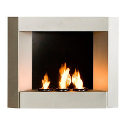 "Southern Enterprises Inc - Southern Enterprises Inc Hallston Wall Mount Gel Fuel Fireplace Silver X-6085AF - Enliven any space with this wall mount gel fuel fireplace. This piece is small enough to go anywhere and can be hung as easily as a picture. The modern crisp lines of this fireplace stand out against any wall making it a definite eye catcher. Finished with a light silver matte texture, the finish is designed to fit well with both contemporary and transitional styling. This wall mount fireplace will hold up to 3 cans of gel fuel providing a rich fiery glow perfect for relaxation. Each can lasts 1-2 hours and puts off up to 3,000 BTU's. Gel fuel must be purchased separately. This wall mount fireplace also makes a convenient and unique space for burning and displaying candles simply by placing the included snuffer cover on top of the gel fuel can openings. - 29.5"" W x 6"" D x 24"" H - Textured powder-coat silver finish - Holds 3 cans of FireGlo Gel Fuel - Perfect for a covered patio - Fiberglass insulation against wall - Durable metal construction - No assembly required"