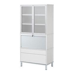 IKEA of Sweden - EFFEKTIV Storage combination on legs - Storage combination on legs, white, glass