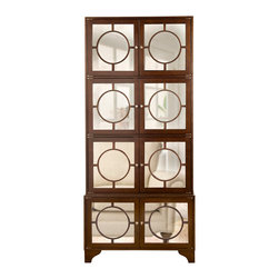 Kathy Kuo Home - Vance Modern Hollywood Regency Espresso Antique Mirror China Cabinet - Well, hello, tall, dark and handsome! This strong, dark-stained wooden cabinet stands more than 7 feet tall, with plenty of adjustable shelving behind its misty mirrored and mullioned doors. Use it to store china and glassware, or put one in the bath for stately style.