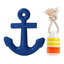 Waggo - Nautical Water Dog Toy Sets - Give your pup a salty paw with our Nautical Toy Set. A navy Anchors Aweigh Dog Toy and a yellow Floats My Boat Buoy Dog Toy are sure to please any scally-wag at play time!