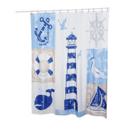 Printed Shower Curtain Key West Polyester Blue - This printed shower curtain Key West for bathrooms is in polyester, tissue effect. It is opaque with maritime patterns and is equipped with 12 strengthened eyelets for hanging (12 shower rings needed, sold separately). Water-repellent and machine washable, it will fit perfectly in your shower or bathtub. Width 71-Inch and height 79-Inch. Color blue. This shower curtain is perfect to add a decorative touch in your bathroom! Complete your Key West decoration with other products of the same collection. Imported.