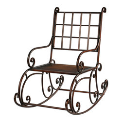 "Winward Designs - Rocking Chair 41"" Tall Antique Brown Metal by Winward Designs - The old rocking chair's gonna get ya...at least this one will because it's so elegant and comfortable! 41 inches tall, 24 inches deep, 30 inches wide. Metal, with an antique brown finish. Some very easy assembly required."