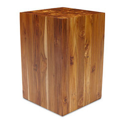 Teak Stool - This beautiful block of teak wood will add warmth and a natural element to your home. It mades a great side table, nightstand or extra seating.