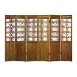 "Elmwood Door Panel Floor Screen - Made of Elmwood recovered from Northern China, this breath-taking door panel screen is typically used as room dividers in Chinese houses. Inspired by traditional Chinese door panel design, the open designs are made using traditional mortise and tenon joinery, which allows air to circulate nicely and creates a mesmerizing visual effect. With rich texture, this piece stands as a functional piece of art in any room and will last for generations to admire. Designs are identical on both sides for your decorating convenience. Each panel is 24"" wide."