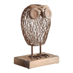 Cyan Design - Wisely Owl Sculpture - Wisely owl sculpture - rustic.
