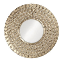 Howard Elliott - Howard Elliott Symphony Round Mirror X-3805 - This large round mirror features a wide frame accented with spiral twist medallions and finished in a silver leaf for a striking, Contemporary look.