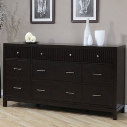 None - Wavelength 9-drawer Dresser - This functional and elegant 9-drawer dresser is made from rubberwood in a dark Halifax brown finish. Rippled accents on the drawers and brushed silvertone hardware lend a classic look to this Wavelength dresser,instantly updating any bedroom decor.