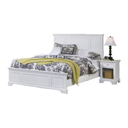 None - Naples White King Bed and Night Stand - Home Styles Naples King Bed and Night Stand are constructed of hardwood solids and engineered wood with a rich white finish. Bed features raised panels on the headboard and footboard.