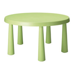 "MAMMUT Children's Table | IKEA - Dimensions: 33 1/2""Diameter x 18 7/8""H. Made of polypropylene. Available in light blue, light green, and light pink."