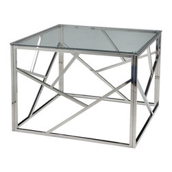 """Pastel Furniture - Pastel Furniture Fuerza 28 Inch Square End Table w/ Glass Top in Chrome - The Fuerza end table is not only a beautiful piece of furniture but an art piece as well. In addition to adding elegance and style to a room, it will make a great conversation piece. This elegant end table comes in a stainless steel frame with a 28"""" square glass top."""