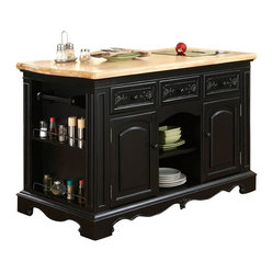 Powell Pennfield Butcher Block Black Kitchen Island