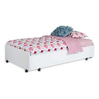 South Shore - Twin Trundle Bed - Mattress and accessories not included. Non-toxic laminated particle boards. Casters with built-in brakes, so moving the unit around is simple and practical. Can support a total weight of up to 300 lbs.. Warranty: Five years limited. Pure white color. Made in Canada. Assembly required. 76.5 in. W x 40.5 in. D x 15.75 in. H (97 lbs.). Assembly InstructionsModules in our Mobby collection let you create a practical yet pleasant room thats customized for your little treasure. This trundle bed is perfect for a little sister or a friend whos invited for a sleepover and you can save space by sliding it under the loft bed!