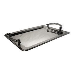 """Alan Lee Collection - Princess Collection Rectangular Tray - Hand applied cut crystals adorn the handles on this 14"""" x 11"""" stainless steel tray.  A great way to serve your guests in style."""