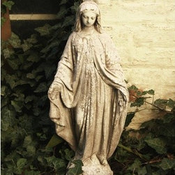 OrlandiStatuary - Religious Mary Statue - Features: -Material: Fiber stone.-Mixture of stone cast directly into the surface, reinforced with a fiberglass backing.-Carefully stained to give the appearance of age.-Lightweight, extremely durable, less fragile than concrete.-Handmade and outdoor safe.-Made in the USA.-Religious collection.-Seams from manufacturing may be minimally visible..-Collection: Religious.-Distressed: No.-Country of Manufacture: United States.Dimensions: -Dimensions: 26'' H x 10'' W x 7'' D.-Overall Product Weight: 13 lbs.