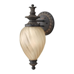 Hinkley Lighting - Hinkley Lighting 1736AI Montreal Traditional Mini Outdoor Wall Sconce - Montreal's traditional Old World styling features ornate cast aluminum construction in an Aged Iron finish with stunning amber inside-etched optic glass.