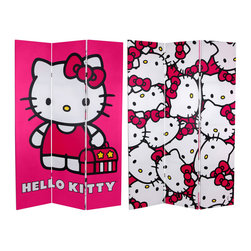 """Oriental Furniture - 6 ft. Tall Double Sided Hello Kitty Pink Canvas Room Divider - Limited edition three panel folding screen with classic Hello Kitty graphic art in the """"kawaii"""" (cute) design movement of modern Japan. Sturdy, well-crafted accessory, with colorful, lively design elements ideally suited for today's individualized eclectic decor."""