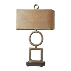 Uttermost - Uttermost Rashawn Lamp - Metal base finished in a plated coffee bronze with matte black foot. The rectangle box shade is a silken golden champagne fabric.