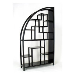 Wayborn - Half Moon Etagere in Black Birchwood - Unique shape. Multi-sized compartments. Made from Birchwood. Smooth finish. 40 in. W x 12 in. D x 72 in. H (68 lbs.)