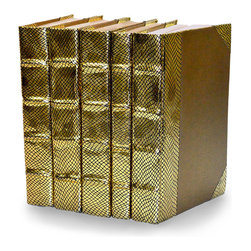 Exotic Metallic Collection - Gold - Set of 5 - You can, indeed, judge a book by its cover. A visually striking set of decorative tomes, the Exotic Metallic Collection - Gold - Set of 5 makes an impressive graphic statement when placed upon a shelf in an eclectic great room, a window ledge in a home office, a fireplace mantel embellished with objects d'art, or glass-fronted armoire in a personal library.