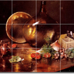 Picture-Tiles, LLC - Still Life Brass And Glass Tile Mural By William Chase - * MURAL SIZE: 18x24 inch tile mural using (12) 6x6 ceramic tiles-satin finish.