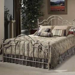 Hillsdale - Mableton Metal Bed - The Mableton Bed is a design inspiration. A tiered arching silhouette and an interesting curved spoke design in the headboard and footboard combine with traditional round finials and bun feet to create a timeless and unique style for your bedroom. The king size features 2 interchangeable identical duo-panels. Understated yet elegant, the Mableton Bed from Hillsdale Furniture is sure to enliven your d cor! Features: -Antique pewter finish.-Recommended care: Dust frequently using a clean, specially treated dusting cloth that will attract and hold dust particles. Do not use liquid or abrasive cleaners as they may damage the finish..-Distressed: Yes.-Collection: Mableton.Dimensions: -Overall Product Weight: 65 - 87 lbs.