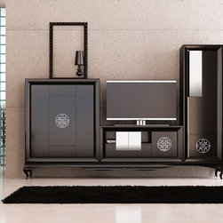 Entertaiment Center Composition SK04 - Entertaiment Center Composition No. SK04. The price includes: Big cabinet on the left + TV center Table + Tall cabinet on the right + large unit legs, This product is available as a pre-order. Lead time: 10-12 weeks.