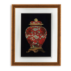 Bassett Mirror - Bassett Mirror Framed Under Glass Art, Red Porcelain Vase II - Part II of the Red Porcelain Vase series, this traditional framed piece illustrates the intricate and ornate detail that makes ancient pottery so revered. Beneath glass in a contemporary gold bevel-edged frame and surrounded by a thick white matte with a delicate outline, this elaborate red and gold print will bring some of the nobility of ancient Chinese design into your home.