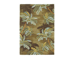 "Kas - Tropical Palm Trees Moss Sparta Floral 8'6"" x 11'6"" Kas Rug  by RugLots - Our Sparta Collection is an exclusively designed line of hand-tufted carpets with an antique finish. These rugs are made in China using high density Chinese wool. Classic and new designs in floral and other styles have been constructed using current color trends. These rugs are finished with an antique vegetable-dyed look and abrash effect. The combination of fresh color and design and antique finish gives this collection unique trend-setting characteristics."
