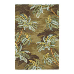 """Kas - Tropical Palm Trees Moss Sparta Floral 8'6"""" x 11'6"""" Kas Rug  by RugLots - Our Sparta Collection is an exclusively designed line of hand-tufted carpets with an antique finish. These rugs are made in China using high density Chinese wool. Classic and new designs in floral and other styles have been constructed using current color trends. These rugs are finished with an antique vegetable-dyed look and abrash effect. The combination of fresh color and design and antique finish gives this collection unique trend-setting characteristics."""