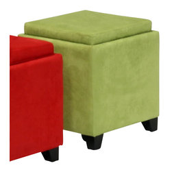Armen Living - Armen Living Rainbow Micro Fiber Storage Ottoman in Green - Armen Living - Ottomans - LC530OTMFGR - The 530 Rainbow Storage Ottoman is a wood frame construction on espresso wood feet and covered in an easy to clean micro fiber fabric. The top reverses from a padded seat to a convenient serving tray. Great for the family room.