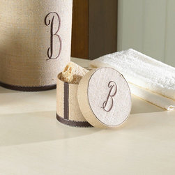 Ballard Designs - Monogrammed Linen Lidded Box -Ribbon Trim - These special accessories are hand covered in natural linen with brown ribbon trim and personalized with brown, single letter initial. Tissue Cover and Wastebasket have hard plastic liners. Hardback Lidded Box is lined in cream taffeta.*Please note that personalized items are non-returnable.