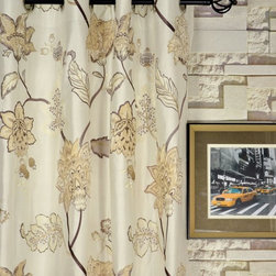 Embroidered Floral and Velvet Appliqué Grommet Dupioni Silk Curtains - Nice embroidered dupioni silk curtain drapery! Sometimes, curtains alone will make a huge difference to the overall atmosphere of your room. These panels in silk and velvet appliqué will add so much luxury.