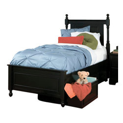 Homelegance - Homelegance Morelle Captain's Bed with Toy Box in Black - Twin - The warmth of cottage living is invoked by the classic styling of the Morelle collection. The collection is designed with many features perfect for today s casual lifestyle such as a low post bed with simple picture framing and round finials plus molded-drawer fronts and satin nickel knobs on the case pieces. The addition of a pull out trundle and toy box offerings further the functionality of the collection. The ability to choose from twin, full, queen, California king and Eastern king bed sizes makes this group perfect for youth bedrooms, guest bedrooms or master bedrooms. Adding to the versatility are two distinct painted finishes, black and white.