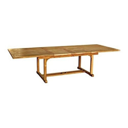 "Chelsea Teak 80"" - 115"" Rectangle Extension Table - The chelsea extension tables is perfect for people who have smaller living spaces but love to entertain. The extension allows you to add two extra place settings when the table changes from a 4' round table to a 6' oval table."
