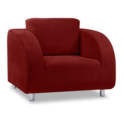 RED LIVING - Houdini Red Chair - The Houdini Armchair and Sofa bed range, stylish and comfortable. With a rounded silhouette, The Houdini range is sure to fit in.