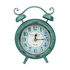 Cooper Classics - Cooper Classics 10x7 Mica Table Clock in Blue and White - Keep track of the time with the stylish mica table clock. This lovely table clock boasts an aged turquoise finish with black understones that will enhance any decor.
