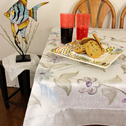 """Unique & Decorative Tablecloths - Beautiful """"Snow White"""" Square Tablecloth. Painted by hand in India. Dupion Silk fabric. Available in 45x45in, 45x90in, and 54x110in. Wedding Decor"""