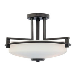 Quoizel - Quoizel TY1716 Taylor 3 Light Semi-Flush Ceiling Fixture with Opal Etched Glass - Contemporary / Modern 3 Light 300 Watt Semi-Flush Ceiling Fixture from the Taylor CollectionThe contemporary flair of the Taylor collection is sure to brighten your living space in a modern and elegant fashion.Features: