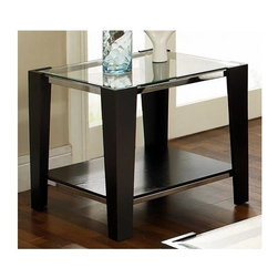 Steve Silver Co. - Newman End Table w Beveled Glass Top in Espre - 8mm beveled tempered glass. Silver finished trim accents. Multi-step Espresso finish. Contemporary style. Corner block construction. Select hardwood solids material. Some assembly required. 26 in. L x 26 in. W x 24 in. H (46 lbs.)