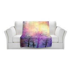 DiaNoche Designs - Throw Blanket Fleece - Trees - Original Artwork printed to an ultra soft fleece Blanket for a unique look and feel of your living room couch or bedroom space.  DiaNoche Designs uses images from artists all over the world to create Illuminated art, Canvas Art, Sheets, Pillows, Duvets, Blankets and many other items that you can print to.  Every purchase supports an artist!