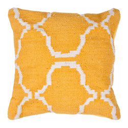 Handwoven Geometric Throw Pillow - Apricot - Include geometrical comfort to your life with our handwoven, 100% cotton Geometric Throw Pillow. Perfect for couches, beds, and chairs, the pattern?Ûªs stunning blue will enrich and liven up any room you toss it in.