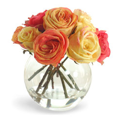 Winward Designs - Rose In Vase Flower Arrangement, Orange/Yellow - A rose symbolizes grace and beauty. This exquisite arrangement of Caribbean coral and sunny yellow roses brings vibrant color, lively energy and effortless elegance to your home. These roses are all handmade. Don't they look like the real thing?