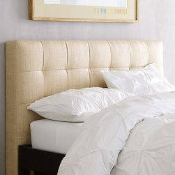 Grid Tufted Headboard - This muslin headboard is really beautiful, and the fabric gives of a subtle sheen.