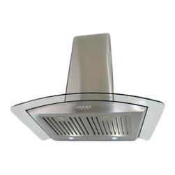 """Cosmo - Stainless Steel Wall Mount Range Hood (760 CFM), Stainless Steel, 36"""", Ducted - This modern European style range hood features a stainless steel body with a tempered glass visor. The heavy duty steel baffle filters are dishwasher safe, so you never have to replace them. With a coverage capacity of 760 cubic feet per minute, it can handle heavy ventilation tasks in your own home. Despite its power, this hood operates at noise levels less than 60 dB which is ideal for quiet operation."""