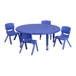 Flash Furniture - Flash Furniture Accent Furniture X-GG-E-EULB-LBT-DNUOR-2-3500-XCY-UY - This table set is excellent for early childhood development. Primary colors make learning and play time exciting when several colors are arranged in the classroom. The durable table features a plastic top with steel welding underneath along with height adjustable legs. The chair has been properly designed to fit young children to develop proper sitting habits that will last a lifetime. [YU-YCX-0053-2-ROUND-TBL-BLUE-E-GG]