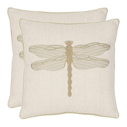 Safavieh - Safavieh Dragonfly 18-inch Cream/ Green Decorative Pillows (Set of 2) - Give your old pillows an instant style update in seconds with these dragonfly decorative pillow covers. This linen-and-cotton cover features an embroidered dragonfly ready to take flight. Satin embroidery and chain stitching gives added dimension.