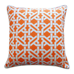 Square Maze Pillow - Featuring an intricate lattice pattern, our preppy Square Maze Pillow has Palm Beach-style glamour and makes a graphic punch in the house. Also available in lumbar size.