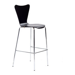 LexMod - Ernie Bar Stool in Black - Minimalist in nature though it may be, this seat doesn't skimp on comfort. Its seemingly rigid design, flexes to the contours of the human body, making it a great side chair for homes and businesses alike.