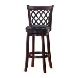 None - Allison Espresso Finish 30-inch Swivel Barstool - Add a touch of Allison style to your kitchen with this bar-height stool. This dining room furniture is constructed of solid wood with a classic espresso finish and features a 360-degree swivel seat.