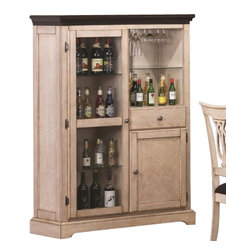 """Coaster - Curio (Antique White/Merlot) By Coaster - This bar cabinet will be the perfect addition to your transitional home. Finished in antique white and merlot and perfect for storage, this is ideal for a moderate sized rooms. Matching table and chairs sold separately. Dims: 42"""" X 15.75"""" X 57.75""""."""